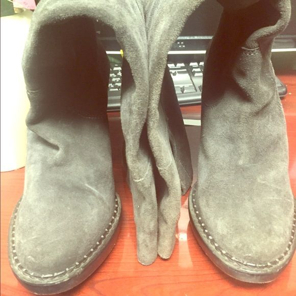 MICHAEL KORS Grey Suede fabulous Thick heel boots Beautiful gently used the inside upper part of the boots are torn but don't get n the way of wear cannot be noticed worn. Minor wear marks on the outside genuine suede! MICHAEL Michael Kors Shoes Heeled Boots