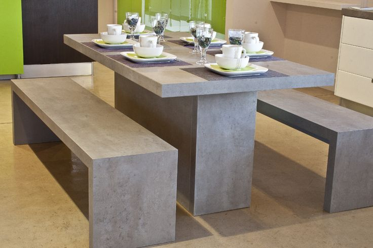 60mm Light Concrete table and benches #SCD  www.supdoor.co.za