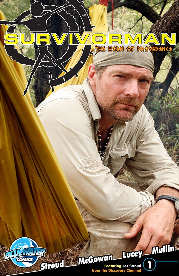 """Les Stroud's: Suvivorman: The Horn of Providence #1A:  Les """"Survivorman"""" Stroud has accepted the challenge of tracking down a vital early American artifact known as """"The Horn of Providence.""""  He will have to use his survival instincts and trademark problem solving skills as he battles the Horn's captor: Oswald Wood.  Les, his son Logan, and trust sidekick CroMagnon will wok as a team to bring the horn bak to its rightful owner."""