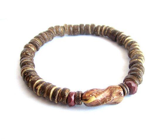 Coconut stretch bracelet mens wood bead bracelet coconut