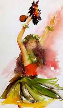Laka is the Hawaiian Goddess of the hula and also of vegetation. She is the daughter of Pele's sister Hi'iaka-i-kapua-'ena'ena, and is married to Lono, God of fertility and peace.