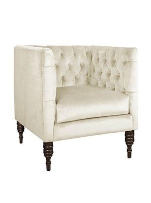 51% OFF Skyline Velvet Tufted Chair, Regal Antique White