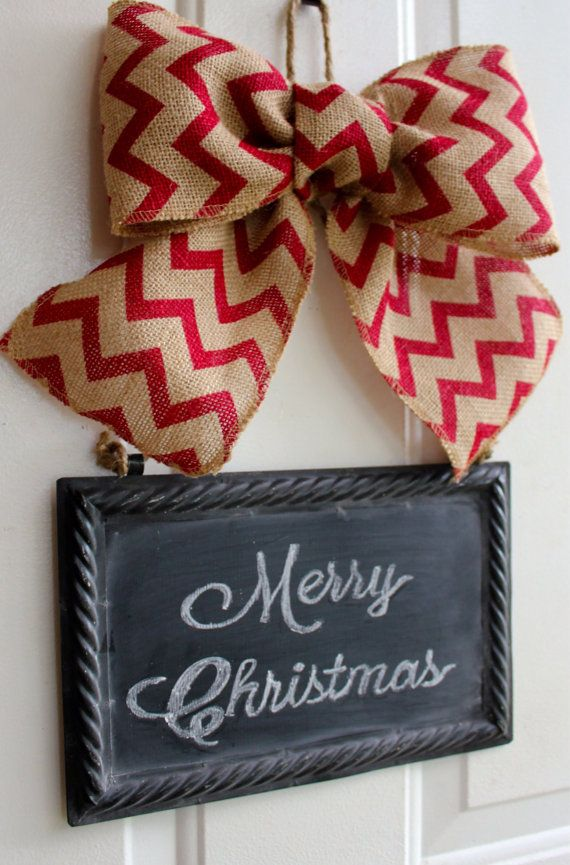 Christmas Wreath Alternative CHALKBOARD Metal Sign Hanging Burlap Bow Classic Red Chevron ribbon Blackboard - Write your own custom greeting... www.chalkitupdecor.com #chalkitupdecor #christmasdoor #christmasdecorating