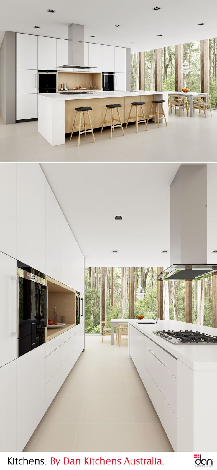 Minimalist says it all with this design. Sleek white joinery and bold proportions are juxtaposed by soft timber veneer highlights and the natural scenery outside. Integrated handles and motorised drawers assist in giving this design a simple, yet sophisticated look. Wonderfully decorated with Danish furniture. #DanKitchensAus #ModernKitchens