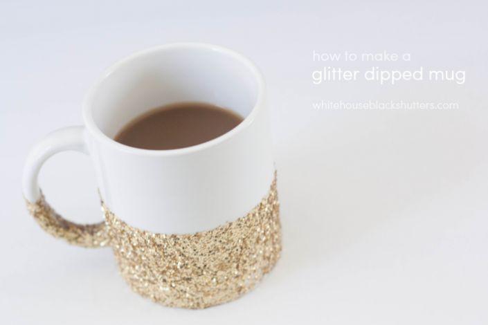 glitter dipped mug