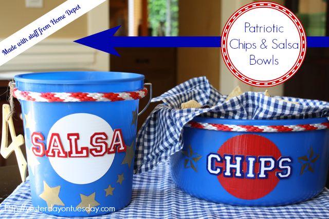 Patriotic Chips and Salsa Bowls #4thofjuly #4thofjulycrafts  #memorialday #memorialdaycrafts