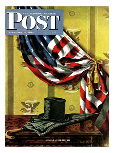 """Commemorating Lincoln's Birthday,"" Saturday Evening Post Cover, February 12, 1944 Giclee Print by John Atherton at Art.com"