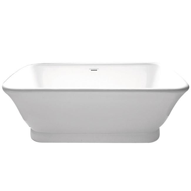 """71"""" Contemporary Pedestal Double Ended White Acrylic Freestanding Bath Tub"""