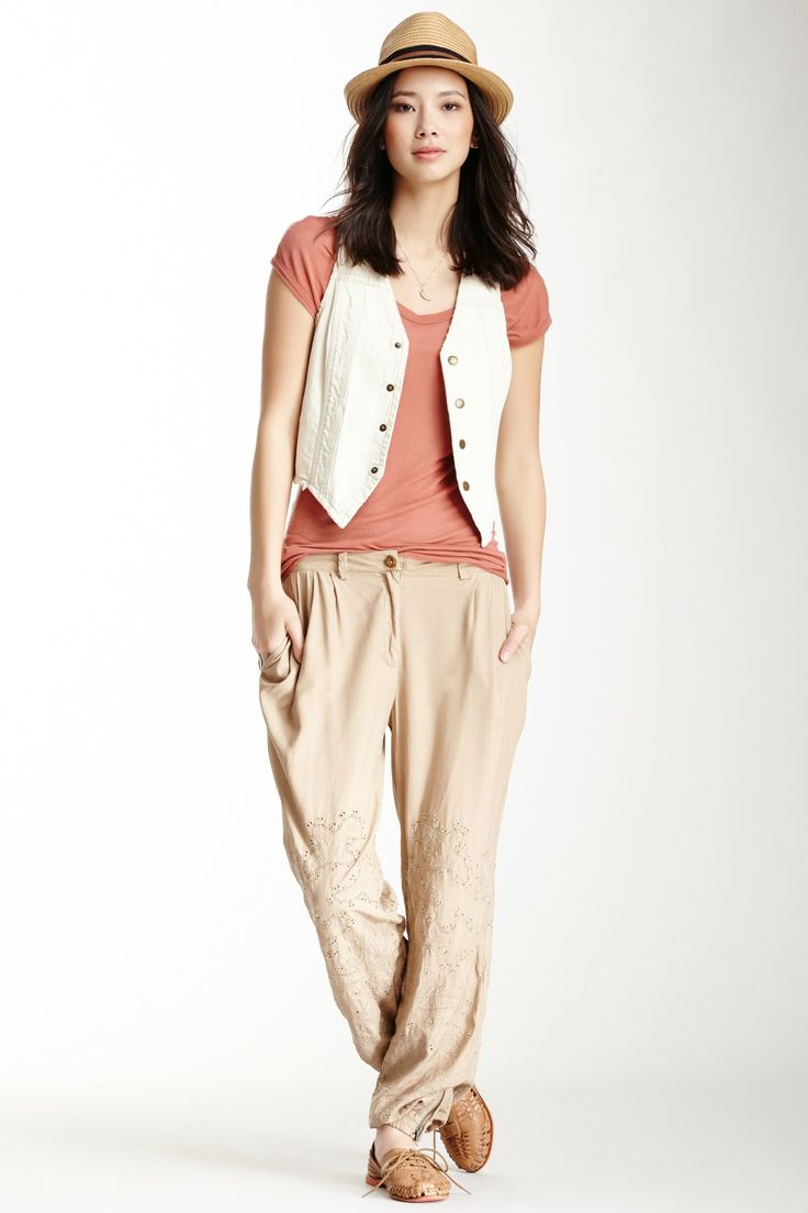 Wish I was taller to pull this off !   Boheme Silk Woven Pleated Eyelet Pant on HauteLook