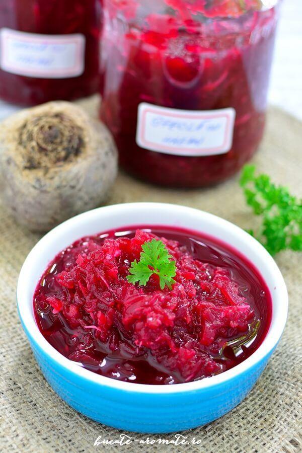 Salată de sfeclă roşie cu hrean la borcan