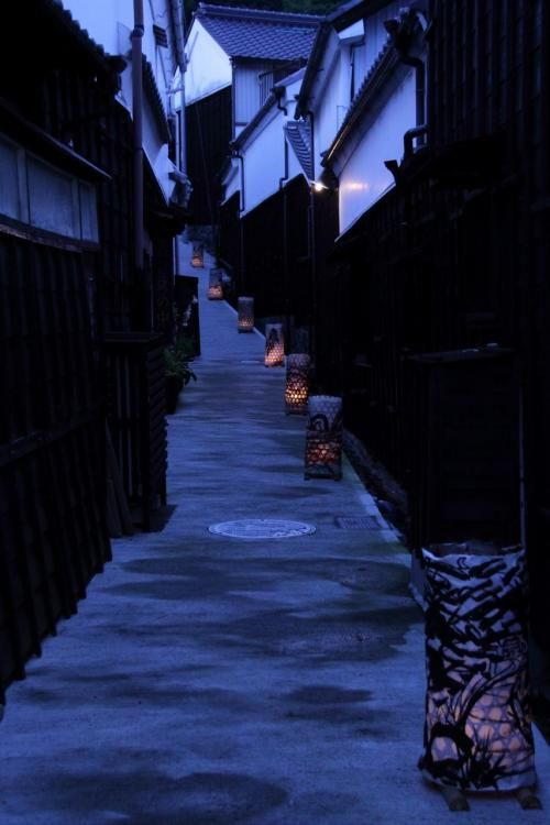 Back alley at summer night in Toyota, Aichi, Japan. Love these blues.