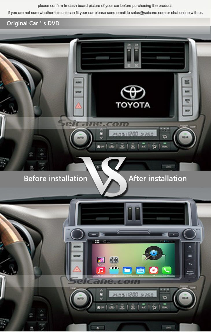 Oem 8 inch android 4 4 4 2014 toyota prado radio replacement with aftermarket navigation dvd