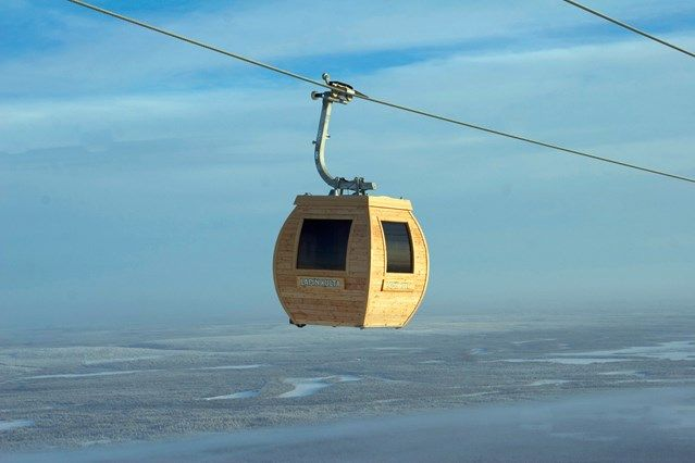 A wooden sauna gondola in yells Ski Resort, in Finnish Lapland. Picture from 10 Amazing Things To Do in Finland, Condé Nast Publications Ltd.
