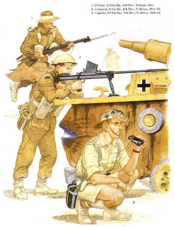 Australian Army - 1.Private 2/13th Battalion, 9th Infantry Division, Tobruk, 1941 - 2. Corporal, 2/1st Battalion, 6th Infantry Division, N.Africa, 1941-42 - 3. Captain, 2/14th Battalion, 7th Infantry Division, N. Africa 1941-42