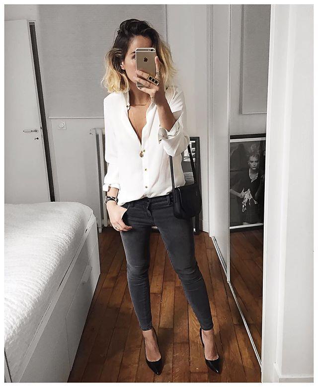 Bonne soirée! • Silk Shirt #sezane (from @sezane) • Jean #jbrand 835 (from @jbrandjeans) • Shoes #cosmoparis (old but still on @cosmoparis) ...