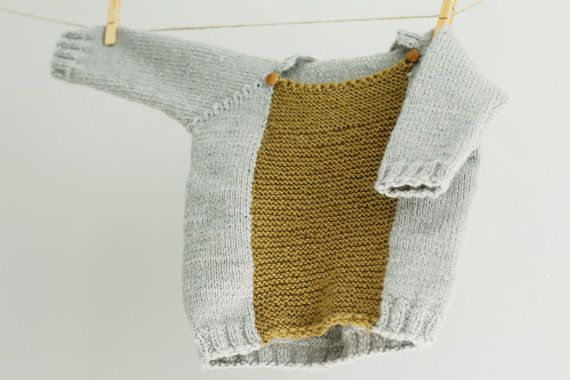 Hand Knit Baby Sweater Color Blocked Baby Sweater door LalaKa, $35.00