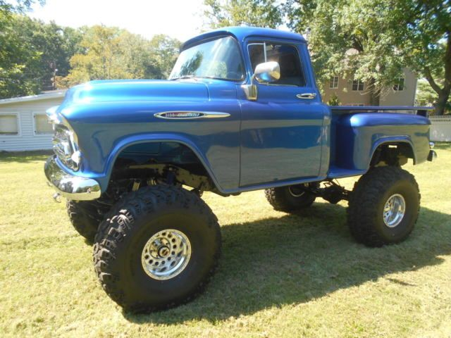 1957 chevy apache 4x4 shortbed stepside show truck monster