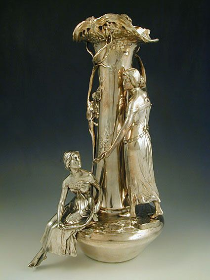 Silver plate on pewter vase with two figural Art Nouveau maidens