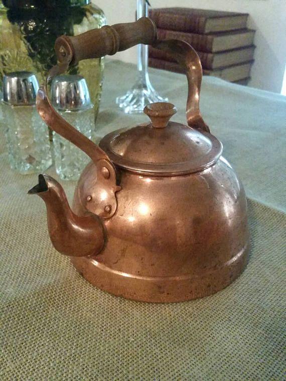 Vintage Copper Kettle Tea Pot Country Kitchen Home Decor
