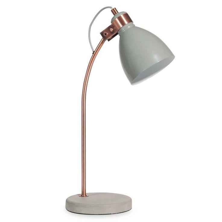 SMILE copper-coloured metal and grey desk lamp | Maisons du Monde