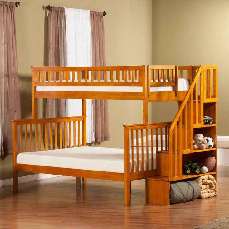 Woodland Twin over Full Staircase Bunk Bed - AB567