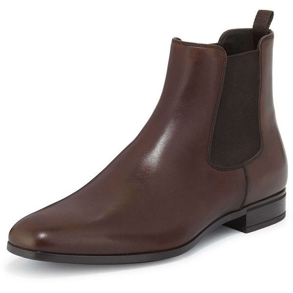 Prada Leather Chelsea Rubber-Bottom Boot ($720) ❤ liked on Polyvore featuring men's fashion, men's shoes, men's boots, brown, mens leather chelsea boots, men's pull on boots, mens rubber boots, mens rubber slip on shoes and mens slip on boots
