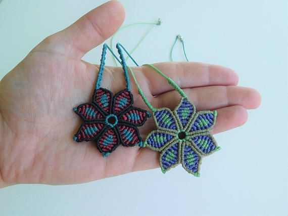 macrame flowers handmade pendants colourful necklace