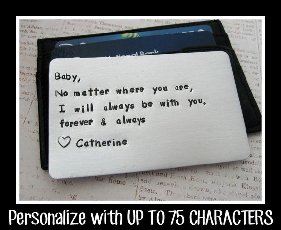 Aluminum Wallet Insert Card - Personalized Hand Stamped Metal - UP TO 75 Characters - Gift Husband Boyfriend 10 Ten Year Anniversary on Etsy, $25.00