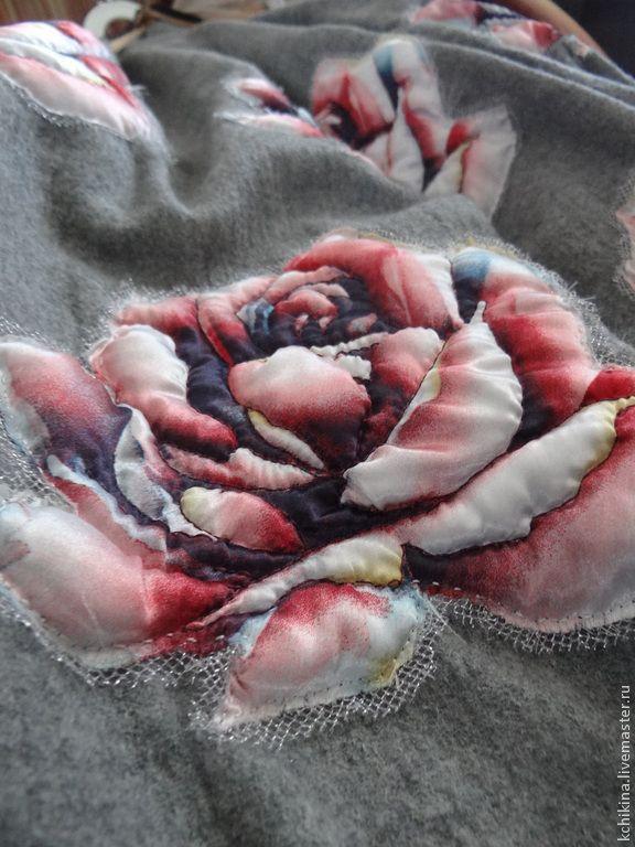 """Купить Юбка """"Rose"""" - костюмная ткань, юбка, аппликация из ткани, декорирование, розы ручной работы"""