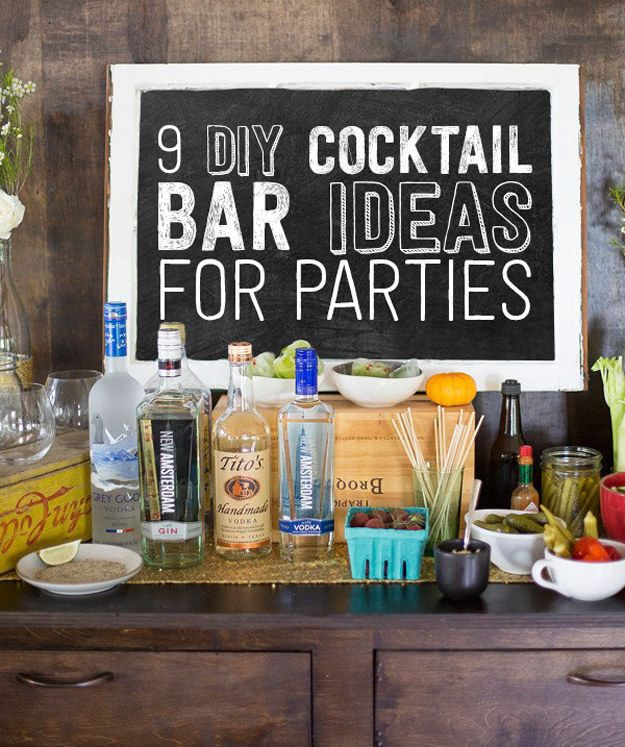 9 Ways To Set Up A DIY Drink Bar And Blow Your Friends' Minds. Cocktail bars. Gin and tonic. Bloody Mary.