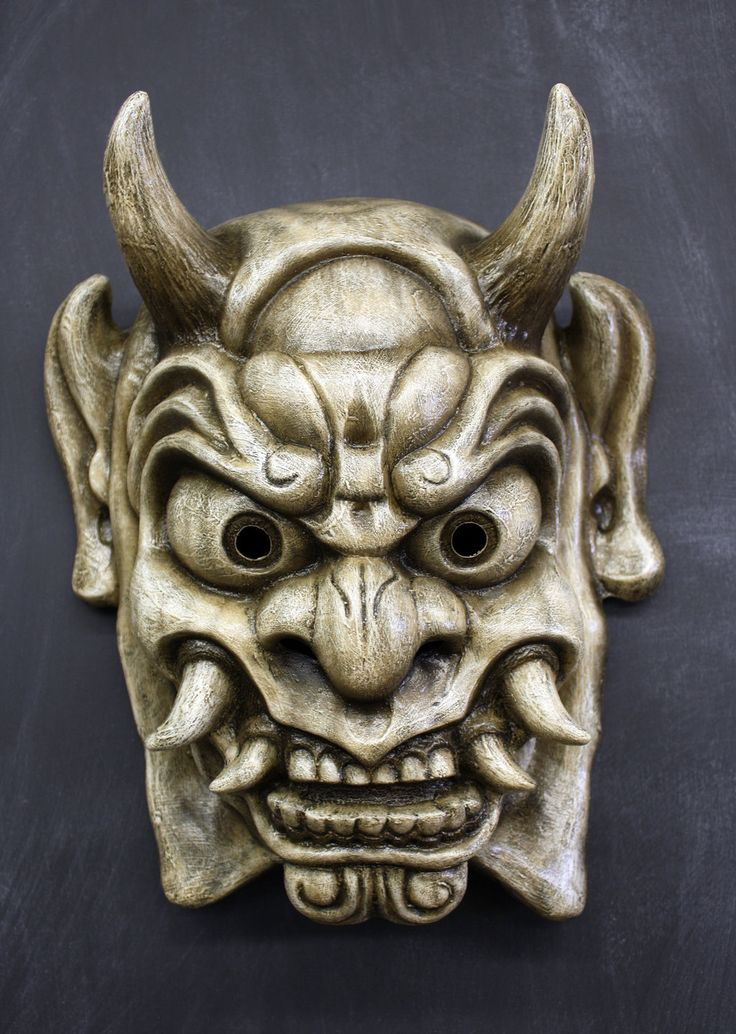 Oni Mask In Antique White By Faust And Company On