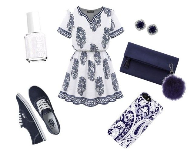 """""""White & Blue"""" by oliviiiias on Polyvore featuring Vans, John Lewis, Essie, Jools by Jenny Brown, Trina Turk LA and Topshop"""