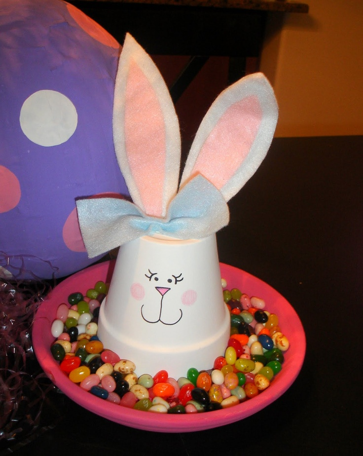 Terra Cotta Pot Easter Bunny w/ Jelly Beans (kids love it!) Have this! My sister made this for me!! I Love it!