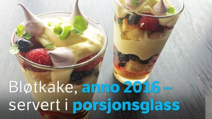 Lars Erik Vesterdal lager bløtkake i porsjonsglass og fyller den med vaniljekrem, friske bær og et hint av Asia.