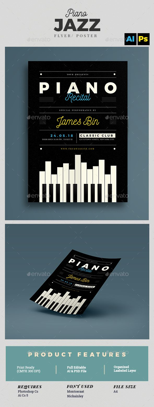 Piano Recital Flyer   PSD Template • Download ➝ https://graphicriver.net/item/piano-recital-flyer-template/15572960?ref=pxcr