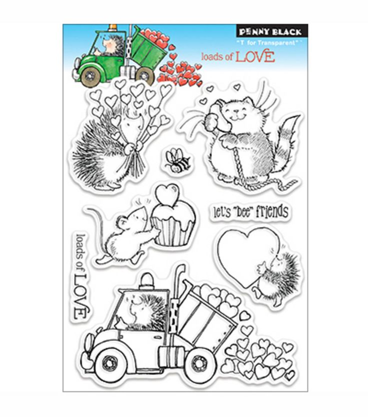 "Penny Black Clear Stamp 5""X7.5"" Sheet ""Loads Of Love"" 