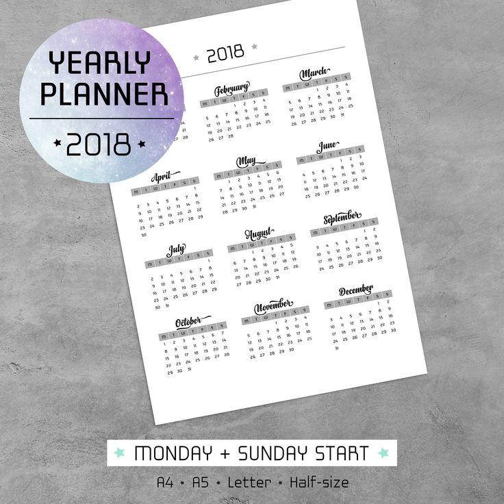 Imprima su propio calendario 2018 utilizando nuestra plantilla PDF imprimible de planificador anual. Un planificador anual será una herramienta muy valiosa cuando usted necesita para administrar su qué hacer con tu trabajo, casa, familia y su vida personal. Plantilla de