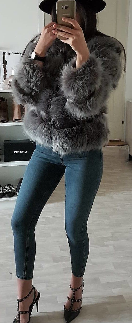 #winter #outfits gray fuzzy topcoat