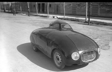 march 1938: stanguellini-fiat 500 with aerodynamic roof for the tobruk-tripoli 1600km, made by Giulio Baravelli of Perugia,