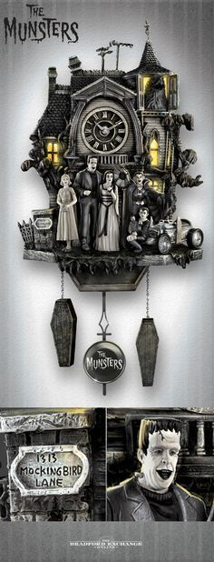 Invite Herman, Lily, Grandpa, Marilyn, Eddie and Woof Woof into your home with this unique Munsters tribute clock. Features lights and music!