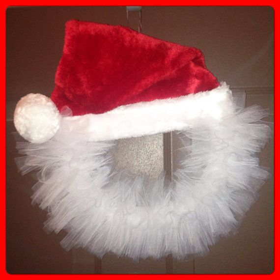 Christmas holiday Xmas wreath - tulle green red white stripes polka dot ribbon - merry Christmas wreath Santa winter on Etsy, $35.00