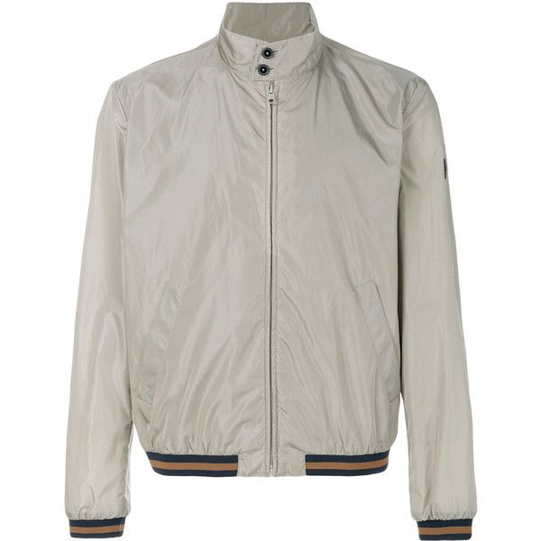 Fay classic bomber jacket (1.925 BRL) ❤ liked on Polyvore featuring men's fashion, men's clothing, men's outerwear, men's jackets, grey, mens grey bomber jacket, mens grey jacket and mens gray leather jacket