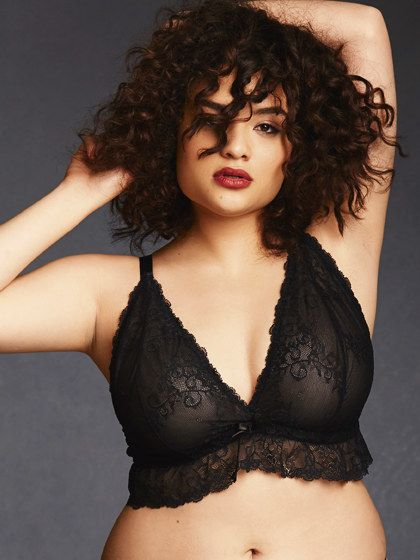 """A <a href=""""http://www.hipsandcurves.com/lace-bralette-ruffle?img=2"""" target=""""_blank"""">lace bralette</a> with a splash of ruffle."""