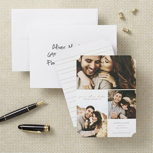 With so many perfect engagement shots, combine all your favorites into a save the date card to share the date worth saving.