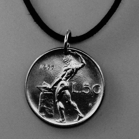 ITALY coin necklace . italian nude pendant. naked male.  blacksmith vulcan anvil . lira. mens jewelry CHOOSE YEAR  No.00967