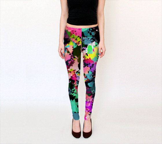 Digital Print Leggings, Yoga leggings, Multicolored Psychedelic Leggings, Geometric Leggings