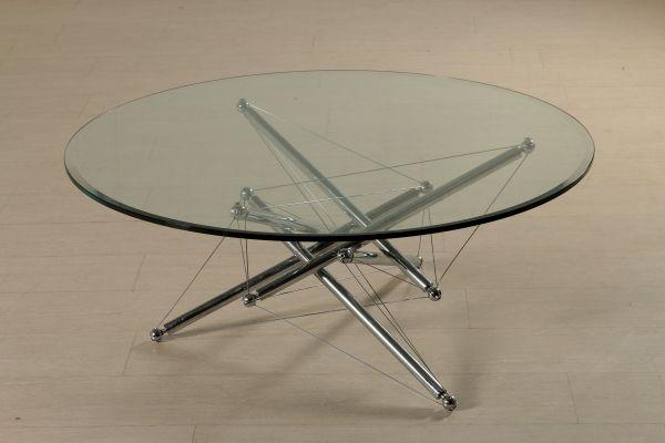 Tavolino Theodore Waddel; base composta da struttura e tenditori in metallo cromato, piano in vetro smussato. Buone condizioni, presenta piccoli segni di usura.