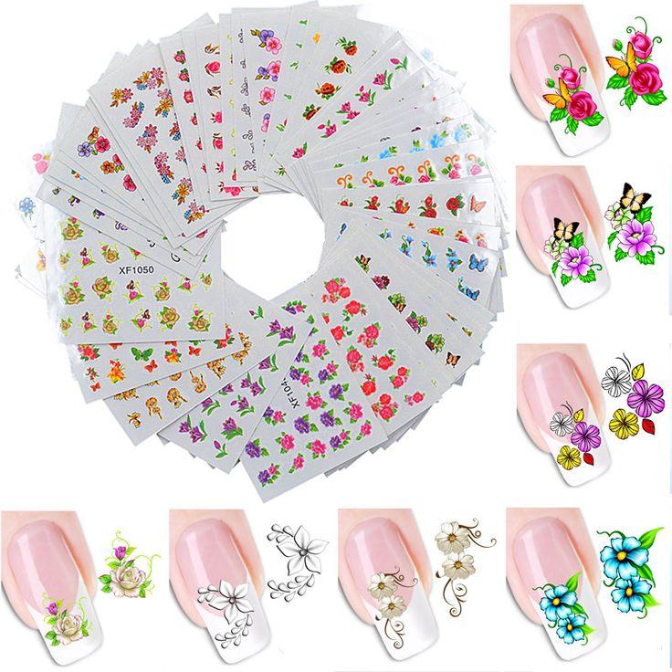 60 hoja del arte del clavo flor agua Tranfer Nails belleza Wraps Foil polacos tatuajes tatuajes temporales Watermark