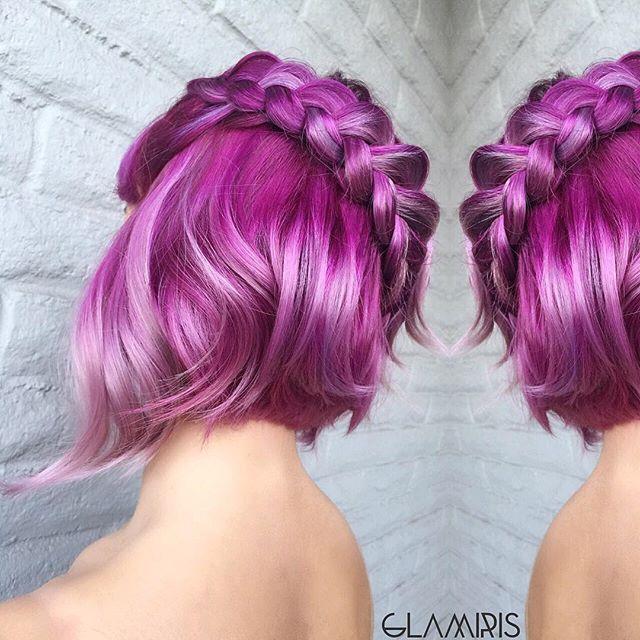 Pink and Lilac bob with braid by Iris Smith. Pink Hair Lilac Hair Bob haircut Hair ideas Hair Painting fb.com/hotbeautymagazine
