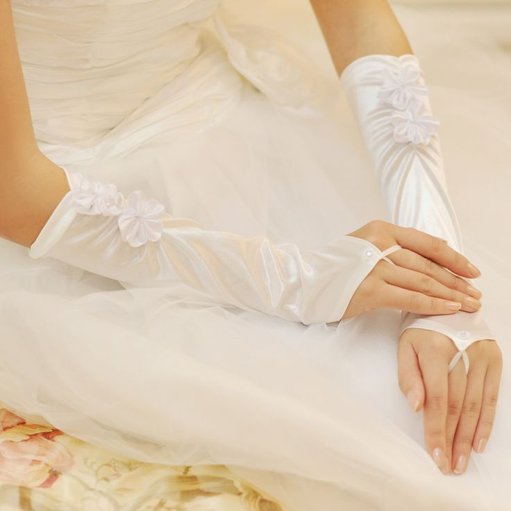 Bow satin double flowers Bridal Gloves